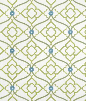 Portfolio Zuma Kiwi Fabric. A geometric pattern with floral touches in blue and green.