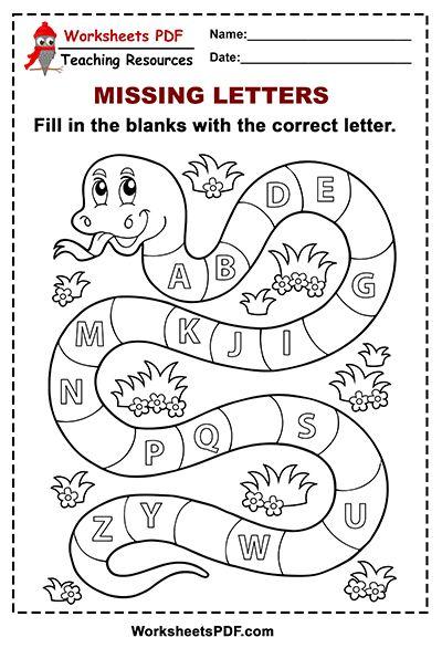 Free Printable Snake Alphabet Missing Letters Alphabet Worksheets Preschool Tracing Worksheets Preschool Alphabet Worksheets Kindergarten Alphabet in english worksheets pdf