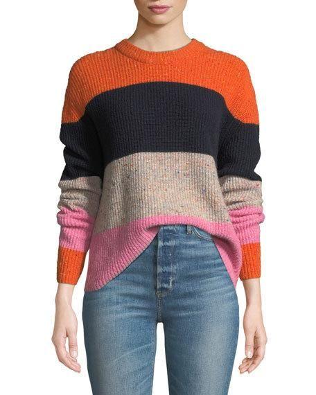 A.L.C. Georgina Colorblock Wool Cashmere Sweater   Cashmere