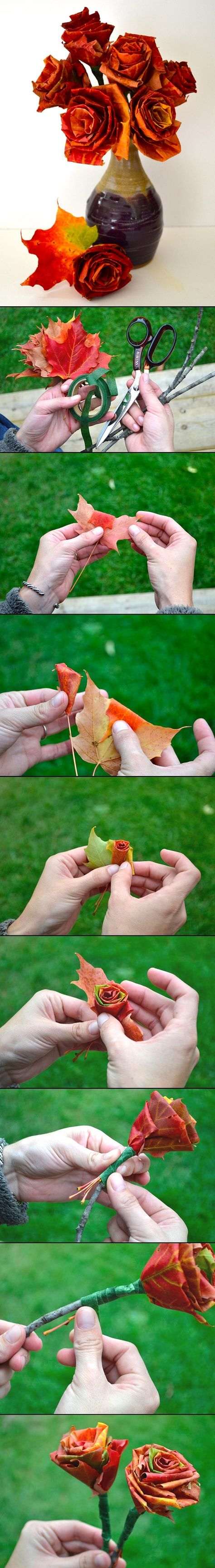 DIY PROJECT: AUTUMN LEAF BOUQUET/ I have made 1 to see what it will look like dried, gorgeous when first made so far :-)