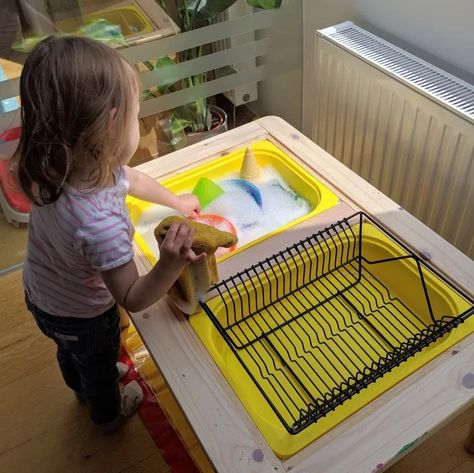 10 Activities to try with the Flisat Table Have you seen the IKEA Flisat children's table? It makes perfect sense for sensory play and helps to minimise mess. 10 activities with the flisat table. Montessori Activities, Infant Activities, Activities For Kids, Ikea Montessori, Montessori Toddler Rooms, Montessori Homeschool, Indoor Activities, Stem Activities, Sensory Table