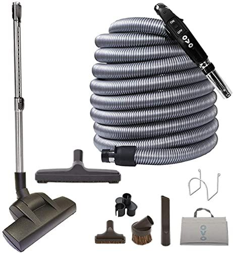 Buy Ovo Central Vacuum Deluxe Plus Kit With 40ft Low Voltage Hose On Off Control Handle Air Driven Carpet Beater 12 Floor Brush Accessories Black Grey In 2020 Central Vacuum Electric Carpet Vacuums