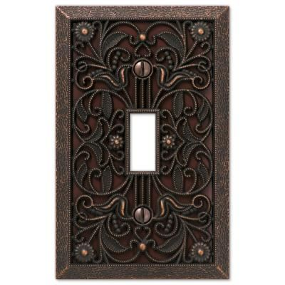 Amerelle Filigree 1 Gang Toggle Metal Wall Plate Aged Bronze 65tdb The Home Depot Plates On Wall Tuscan Decorating Switch Plate Covers