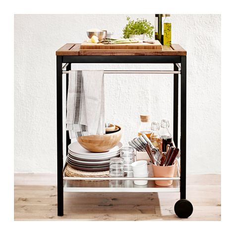 KLASEN $99 Serving cart, outdoor - stainless steel/brown stained - IKEA