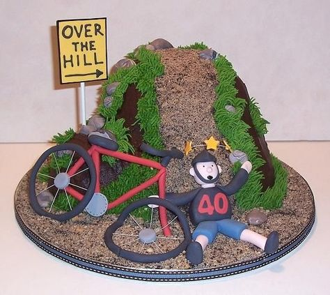 Over The Hill Bike Wreck Cake made for a cycling enthusiast who is turning The biker and his bike have crashed just as they head