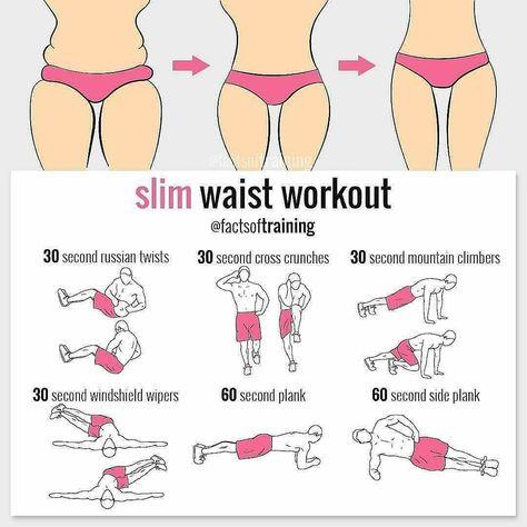 Slim waist workout tag a friend . Reto Fitness, Body Fitness, Fitness Tips, Fitness Women, Fitness Wear, Small Waist Workout, Slim Waist Workout, Exercises For Smaller Waist, Smaller Butt Workout