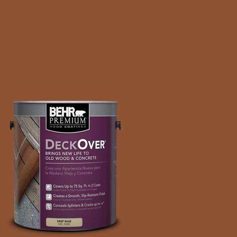 Behr Premium Deckover 1 Gal Sc 122 Redwood Naturaltone Solid Color Exterior Wood And Concrete Coating 500001 Concrete Coatings Behr Painting Concrete