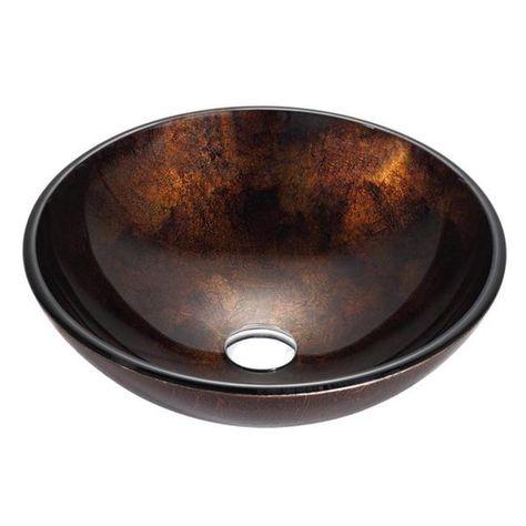 Kraus Gv 684 Pluto 16 1 2 Inch Round Glass Vessel Bathroom Sink In Brown Pop Up Drain Mounting Ring Option Glass Vessel Glass Vessel Sinks Vessel Sink