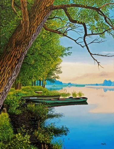 Boats At The River Bank Painting River Bank Riverboat Art Landscape Paintings