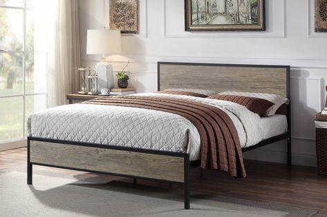 Salisbury Industrial Rustic Black Metal Wooden Bed Frame