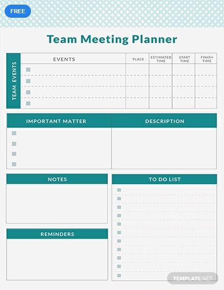 Free Team Meeting Planner Meeting Planner Planner
