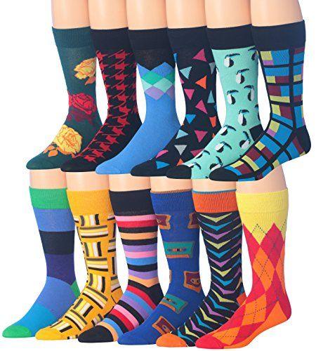 12 Pairs 6 Pairs Men Colorful Fashion Design Dress socks 10-13