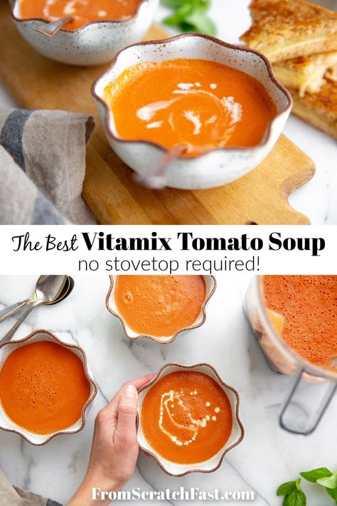 This quick, easy and irresistibly creamy tomato soup can be made entirely in the Vitamix! Vitamix Tomato Soup, Vitamix Soup Recipes, Best Tomato Soup, Tomato Soup Recipes, Blender Recipes, Gourmet Recipes, Healthy Recipes, Healthy Soup, Tomato Tomato