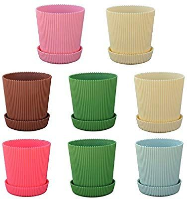 Amazon Com Luxehome Colorful And Strong Flowers Pot With Saucer 5 3 Inch Diameter Set Of 8 Garden Outdoor Flower Pots Plastic Pots Tiny Plants