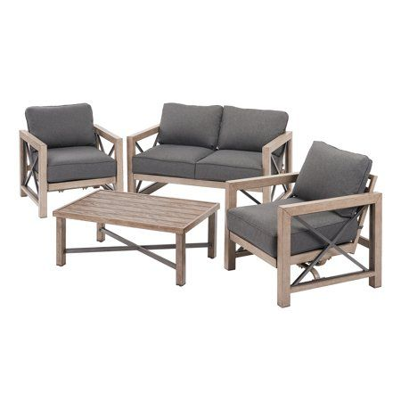 Better Homes Gardens Remsen 4 Piece Patio Conversation Set With Gray Cushions Walmart Com Gray Patio Furniture Patio Loveseat Patio Cushions
