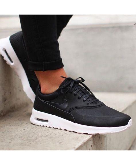 Nike Air Max Thea Premium Black White Trainers Sale UK