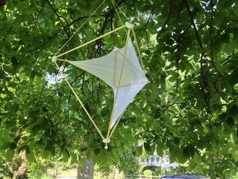 """Light-weight hanging sculptures based on tetrahedrons and using Lycra/Spandex fabric for """"sails."""" The tetrahedron hubs print quickly and reliably. The uploaded stl file is sized for 1/4"""" diameter dowels with 1/8"""" diameter center hole. These sizes are easy to change in the SketchUp file.  I use hot glue to cement the 1/4"""" dowels in their holes. The center poles are 3/16"""".    I use #4 waxed whipping twine from Marlow for the lines. Their twine grips the Lycra well. Other sizes and brands I've…"""