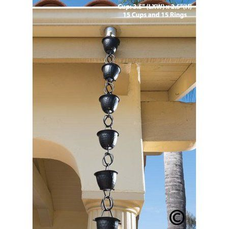 Monarch Aluminum Hammered Cup Rain Chain 8 1 2 Feet Length Flat Black Powder Coated Walmart Com Rain Chain Black Flats Rain