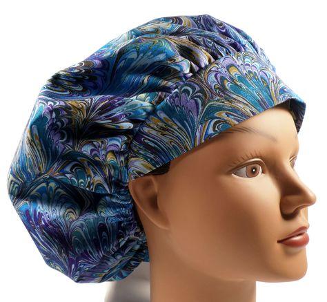 c932b0908e2 Women's Bouffant Scrub Cap Hat in Oil Slick Rainbow w/ Elastic & Cord-Lock  in 3 Styles by Crazy Caps