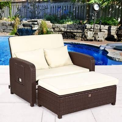 Lisette Patio Chair With Cushion And Ottoman Daybed Sets Comfortable Outdoor Furniture Outdoor Loveseat