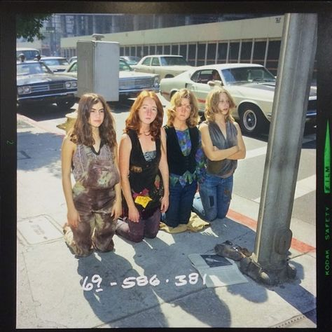 Four of the Manson girls, kneeling in vigil for their cult leader. Los Angeles, 1969.