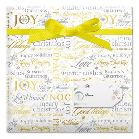 Peace and Joy Rolled Gift Wrapping Paper