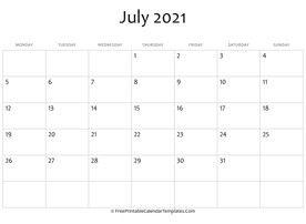 2021 Calendar Fillable July Di 2020 Dengan Gambar