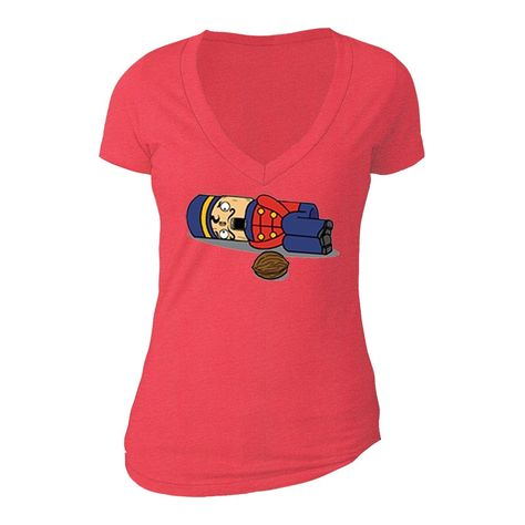 XtraFly Apparel Women's Nutcracker Soldier Ugly Christmas V-neck Short Sleeve T-shirt - XL