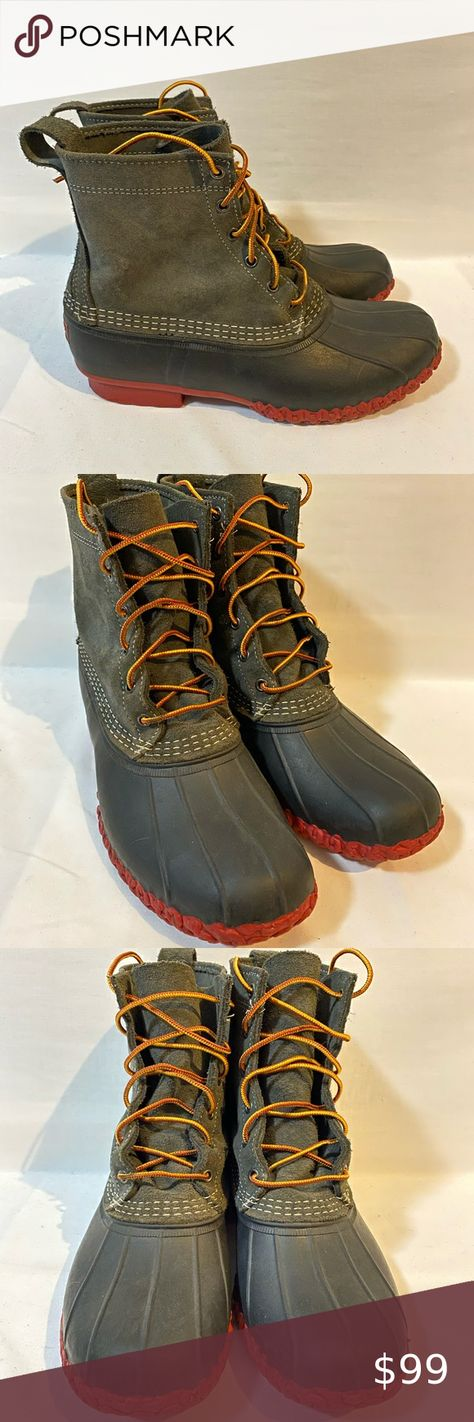 """LL BeanBoots Mens 10 Suede Upper Gray Black Red 8"""" LL Bean Boots Limited Edition Mens size 10 Suede Upper Gray Black Red 8"""". Shoes are gently used with minimal wear. Smoke free home . Ships fast Message me with any questions. Inventory 341434 L.L. Bean Shoes Boots"""