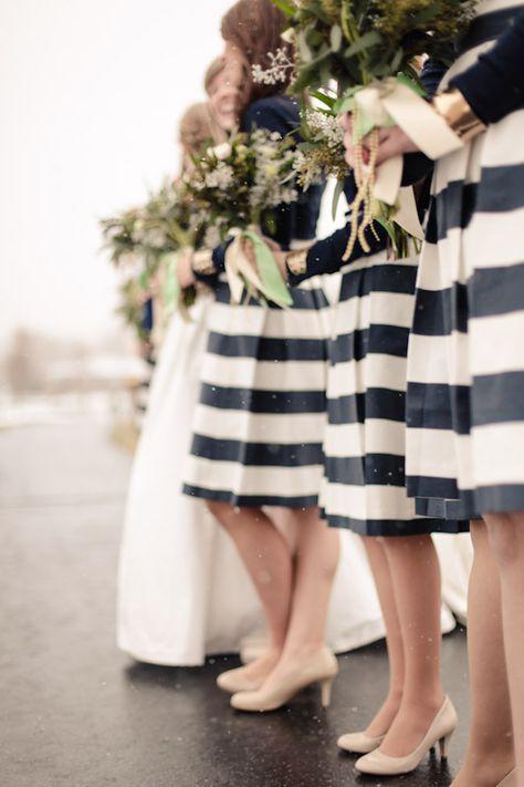 Chic black & white bridesmaids dresses | Photo by EK studios