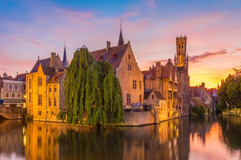 Kunstwerk: 'Brugge at Sunset' van Tux Photography