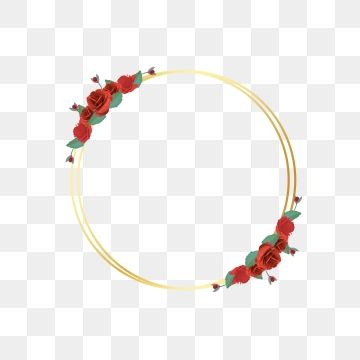 Golden Circle Frames With Elegant Red Rose Flowers Vector Image Art Beautiful Border Png And Vector With Transparent Background For Free Download Circle Frames Watercolor Flower Wreath Golden Circle