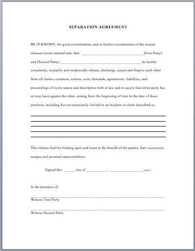 Separation Agreement Template  Business Templates