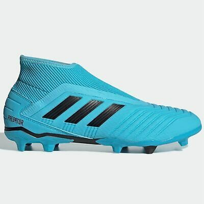 Ad Ebay Link Adidas Predator 19 3 Laceless Fg Football Boots Mens Cyan Black Footwear In 2020 Cool Football Boots Black Football Boots Soccer Boots
