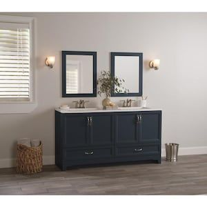 Style Selections 60 25 In Navy Double Sink 2 Mirror Bathroom