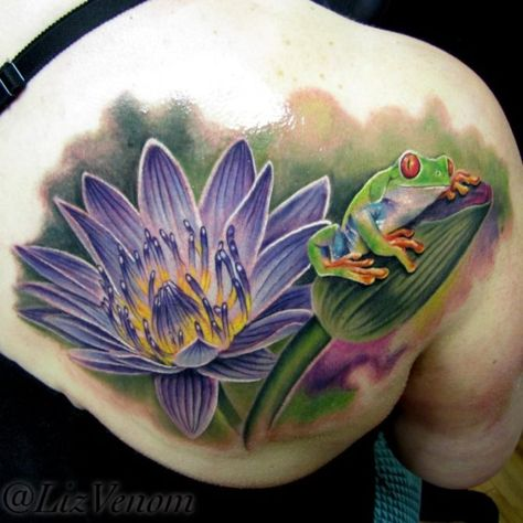 160 Jaw-dropping Shoulder Blade Tattoo Ideas Amazing Tree Frog and Waterlily Flower Tattoo Idea