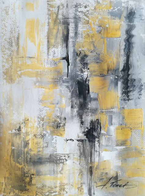 Black-White-Yellow Texture Abstract painting by A.Penev Palette knife on paper