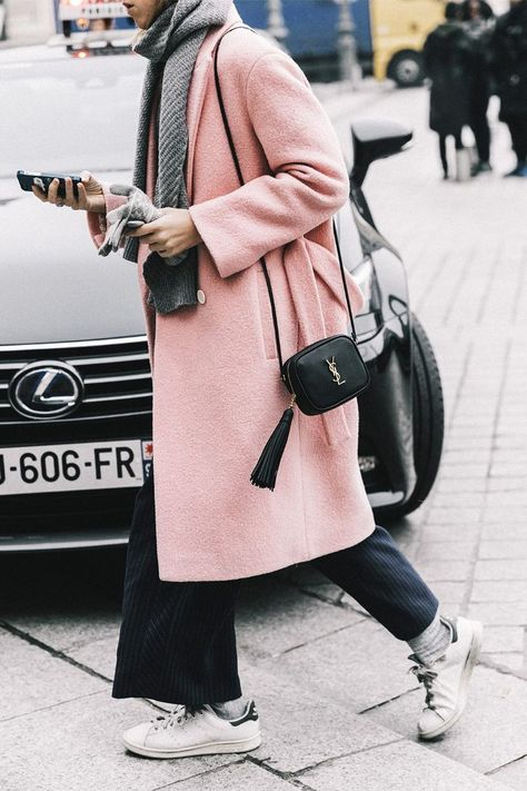 Light pink coat worn during Paris Haute Couture Fashion Week