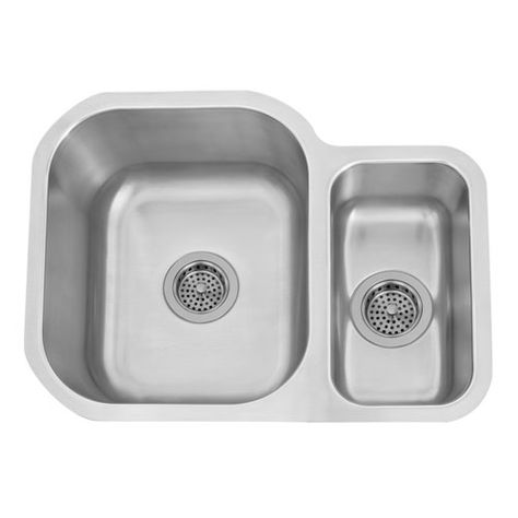 Ferne Stainless Steel 24 Inch Rectangular 80 20 Offset Double Bowl