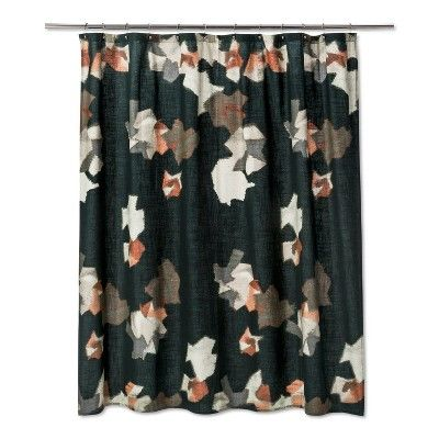 Woven Abstract Floral Print Shower Curtain Green Project 62