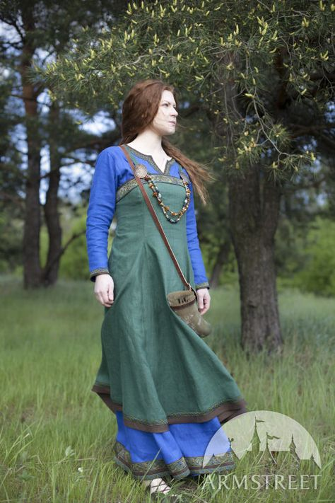 Medieval Strap Dress Overdress Dress Viking Sea Blue by Burgschneider