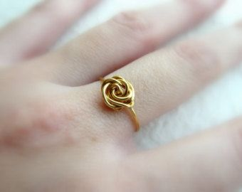 Charm ring, Gold filled ring, Dainty ring, Rose ring, Delicate ring, Flower ring, Wire ring