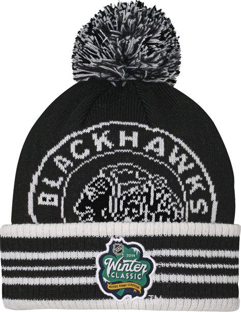 NHL Youth 2019 Winter Classic Chicago Blackhawks Black Pom Knit Beanie f1c282a4454