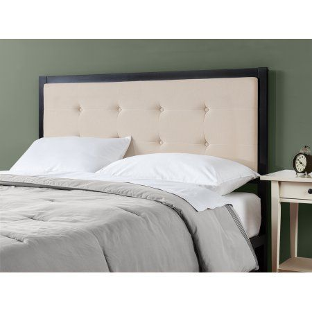 Zinus Barbara Button Tufted Taupe Upholstered Metal Headboard