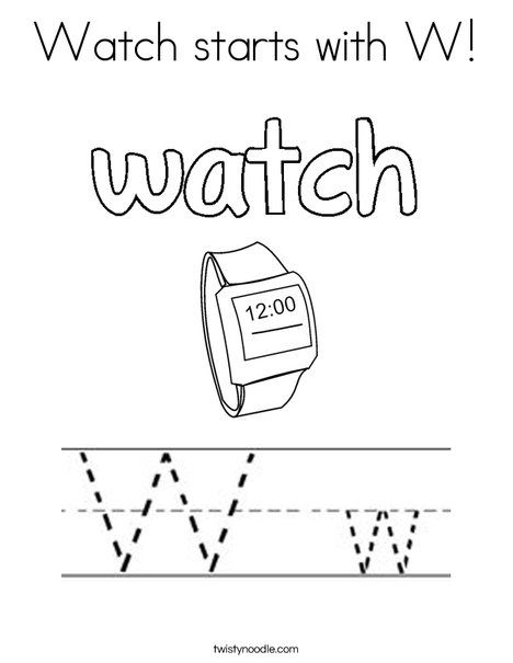 Watch Starts With W Coloring Page Twisty Noodle Coloring Pages Lettering Pre K Worksheets