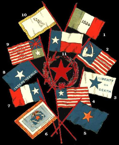The Flags of the Texas Revolution - Short summary of how/why there were so many Texas flags during the revolution as well as a brief description for each pictured