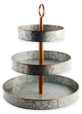 Heritage Home Galvanized Metal And Copper 3 Tier Serving Stand 49 99 At Bed Bath Beyond Serving Stand Galvanized Metal Country Farmhouse Decor