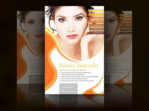 Tangerine Beauty and Cosmetic Flyer 66+ Beauty Salon Flyer - hair salon flyer template