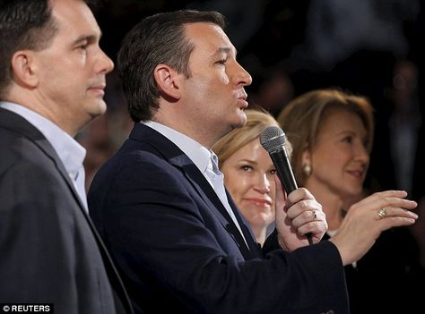 Stand by your man: Heidi Cruz went on stage with him at the end of the town hall, where he was accompanied by two failed presidential candidates now endorsing him - Scott Walker (far left) and Carly Fiorina (far right)
