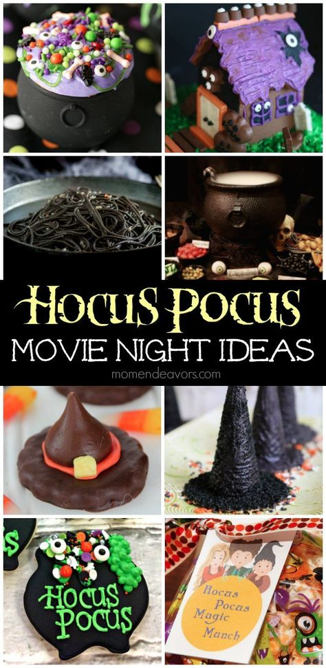 """Get ready to run amuck, amuck, amuck with these great """"Hocus Pocus"""" movie night ideas for some Halloween family fun! One quarter of a century ago, three century witches—Winifred (B… Halloween Movie Night, Halloween 2020, Spooky Halloween, Halloween Treats, Hocus Pocus Halloween Decor, Halloween Baking, Halloween Signs, Halloween Stuff, Best Family Halloween Movies"""